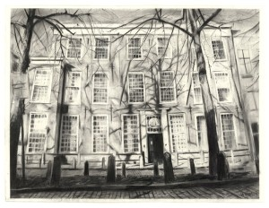 Wilma van der Meyden, large charcoal drawing, British Embassy, Lange Voorhout Drawings