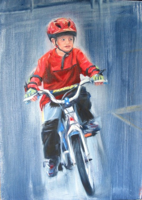 oil painting of child on bicycle