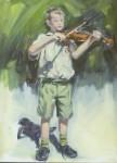 oil Painting of boy playing Violin Wilma van der Meyden