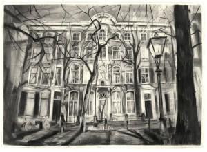 Wilma van der Meyden - Lange Voorhout Drawings, tekening houtskool
