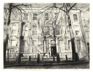 Wilma van der Meyden, large charcoal drawing, British Embassy, Lange Voorhout Drawings