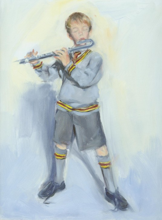 oil painting of boy playing the flute wilma van der meyden